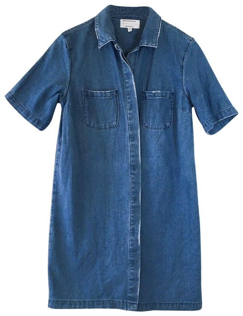 Item - Blue Denim Button Down Distressed Cover Up Short Casual Dress Size 4 (S)