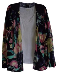 Lane Bryant Sweater Knit Cardigan Plus Size 18/20 Floral Jacket