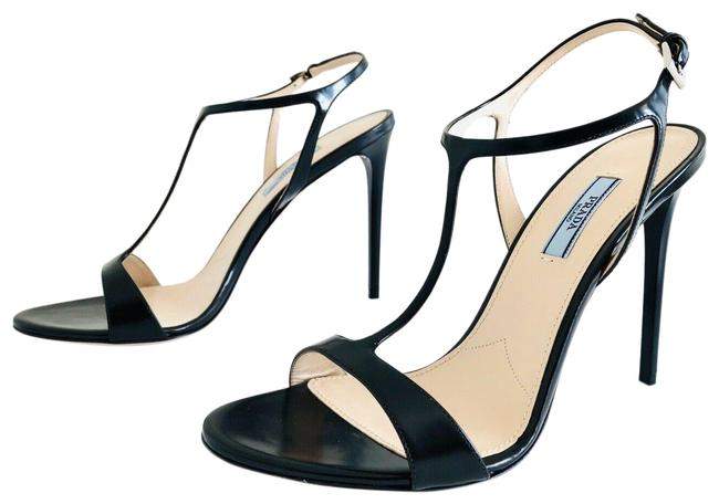 Item - Black Leather Logo Ankle Strap Open Toe 1x339l Sandals Size EU 40 (Approx. US 10) Regular (M, B)