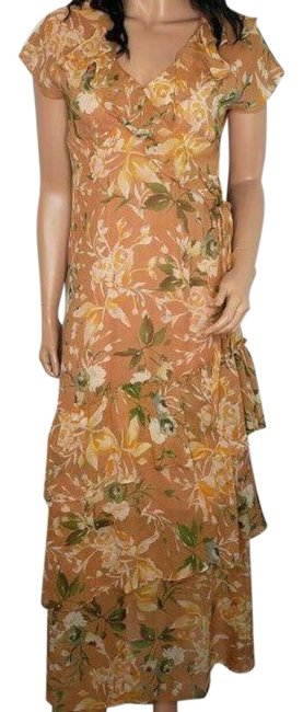 Item - Orange Silk Floral Flounce Victory Garden Maxi Mid-length Night Out Dress Size 6 (S)