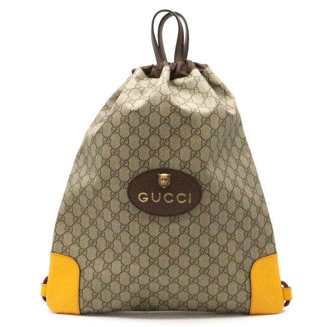 Item - Drawstring Gg Supreme Cat Head Rucksack Pvc473872 Beige / Dark Brown / Yellow Pvc / Leather Backpack