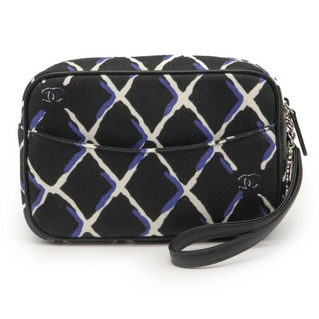Item - Coco Mark Pouch Multi-pouch Black / Blue / White Canvas / Leather Clutch