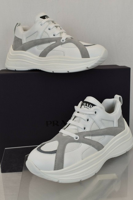 Item - White 4e3490 Leather Gray Suede Platform Sneakers 10 / Us 11 Italy Shoes