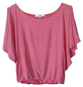 Forever 21 Cut-out Armcutouts Nautical Butterflysleeves Butterfly Crop Trendy Cute Top Red and White