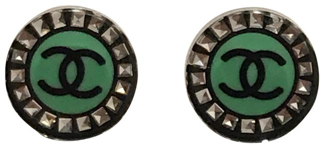 Item - Black and Green Resins Stud with Crystal Earrings