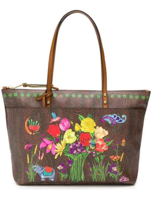Item - Paisley Floral Zip with Pouch Multicolor Coated Canvas Tote