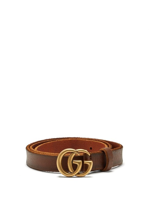 Gucci Tan Brown Mf Gg-logo 2cm Leather Belt Gucci Tan Brown Mf Gg-logo 2cm Leather Belt Image 1