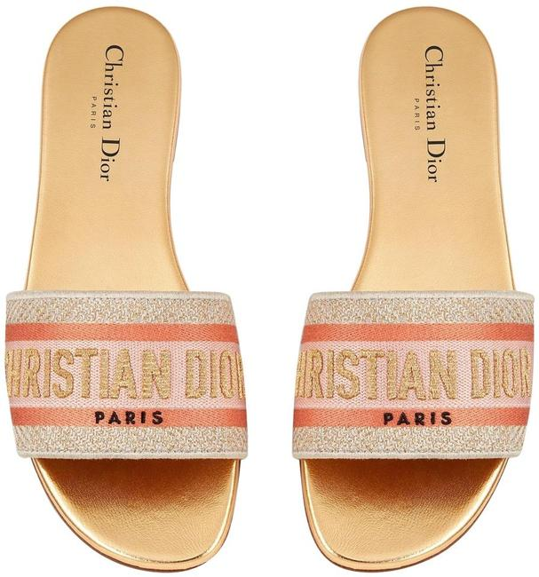 Item - Gold Christian Dway Platinum Embroidered Logo Slide Mule Flat Sandals Size EU 39.5 (Approx. US 9.5) Regular (M, B)