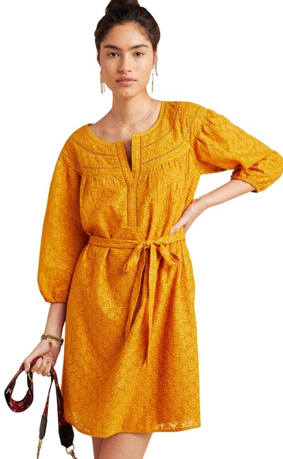Item - Gold Leaf L Treva Embroidered Tunic Mid-length Short Casual Dress Size 14 (L)