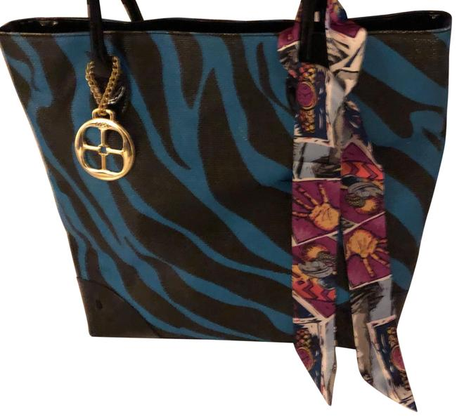 Item - Black and Blue Patent Leather Faux Man Made Leather Tote