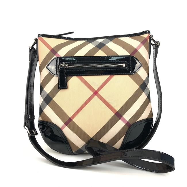 Item - Womens / Black Nova Check / Patent Leather / Sh Beige Canvas Messenger Bag