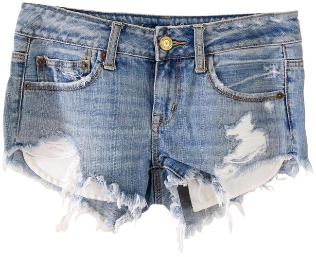 Item - Blue Denim Distressed & Exposed Pockets Shorts Size 0 (XS, 25)