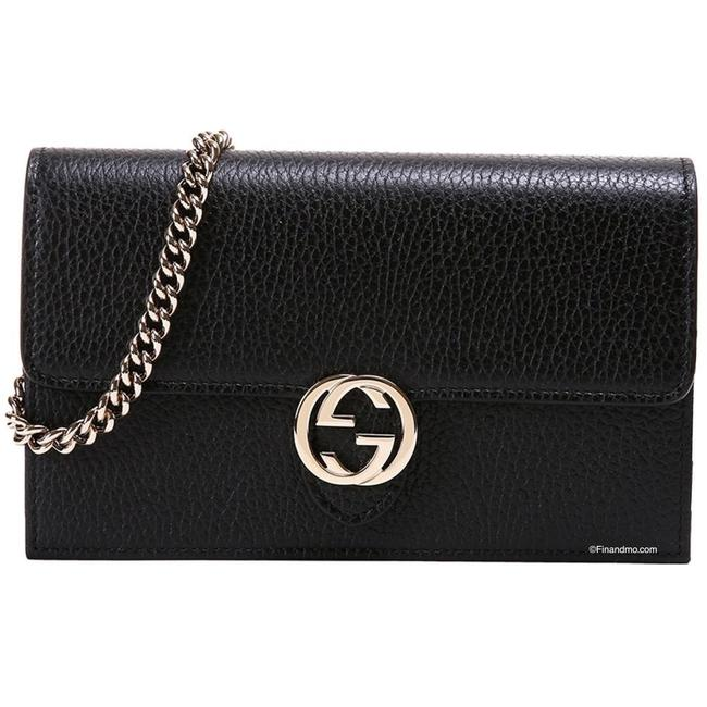 Item - Shoulder Clutch Interlocking G Wallet Chain Black Leather Cross Body Bag