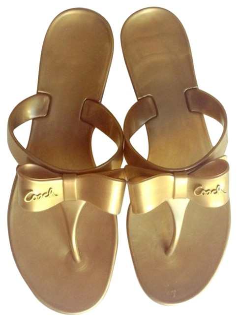 Item - Gold Jelly Pretty Bow Sandals Size US 8 Regular (M, B)