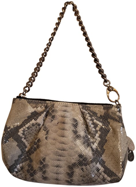 Item - Debutante Asymmetrical Snake/Black and Off White Leather Clutch