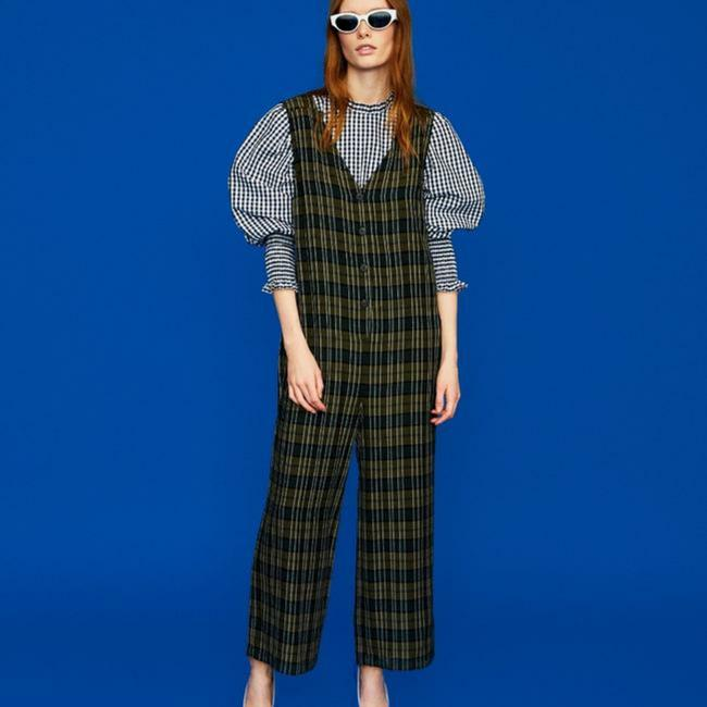 Item - Khaki Check Romper/Jumpsuit