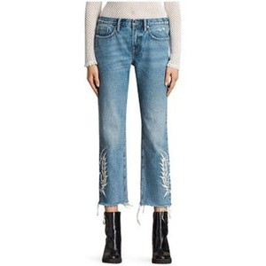 Item - AllSaints Blue / White Light Wash Philly Embroidered Boys Capri/Cropped Jeans