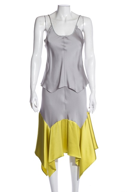 Item - Multicolor Yves Sleeveless Grey & Green Mid-length Cocktail Dress Size 4 (S)