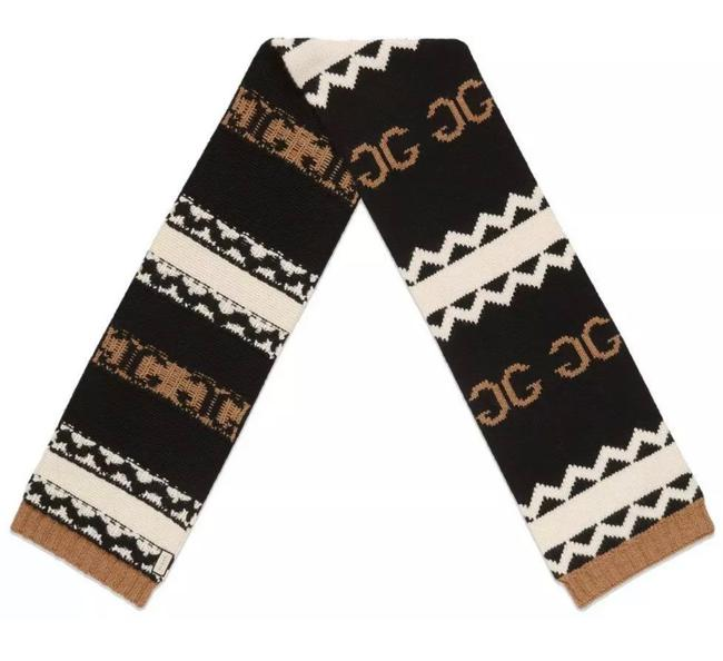 Item - Black Brown Ivory New Current Heavy Knit Lana Wool Mirrored Gg Scarf/Wrap
