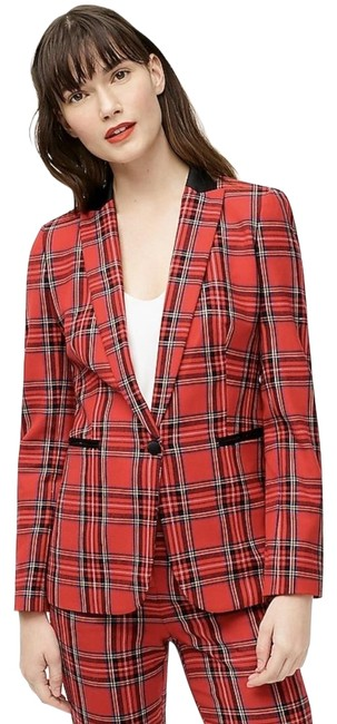 Item - Red Black Multi Parke In Stewart Tartan Stretch Wool. Blazer Size 14 (L)