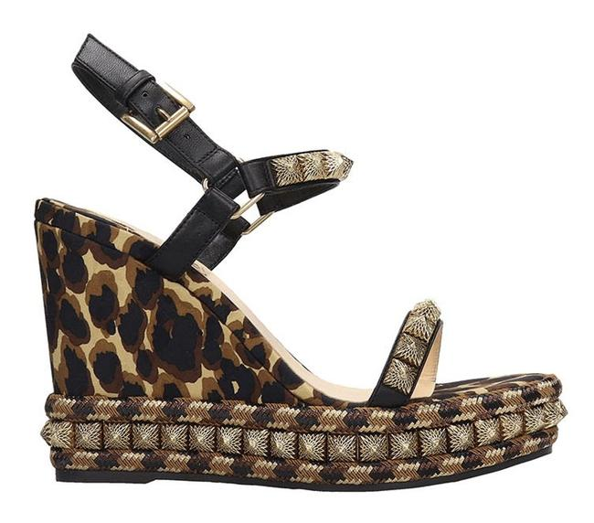 Item - Black Pira Ryad 110 Gold Brown Leopard Platform Sandal Heel Pump Wedges Size EU 39 (Approx. US 9) Regular (M, B)