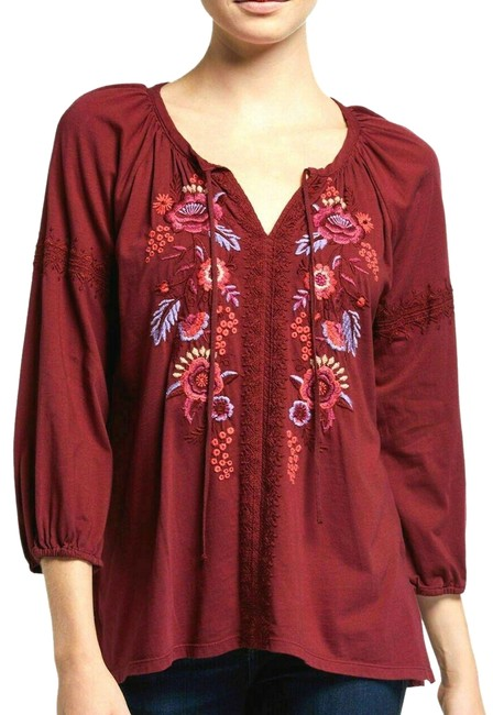 Item - Burgundy Marcella Peasant Embroidered Blouse Tunic Size 6 (S)