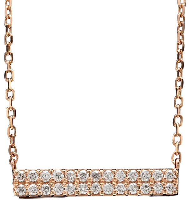 Item - Rose Gold 0.35ct Stunning 14k Solid Diamond Bar Necklace