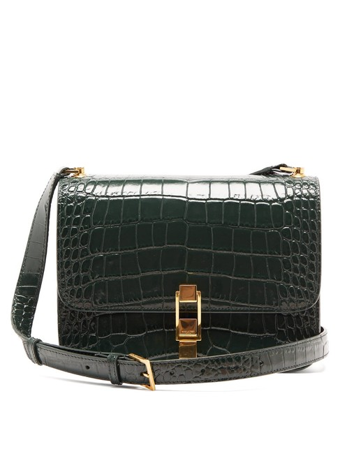 Saint Laurent Belt Mf Carre Green Leather Cross Body Bag Saint Laurent Belt Mf Carre Green Leather Cross Body Bag Image 1