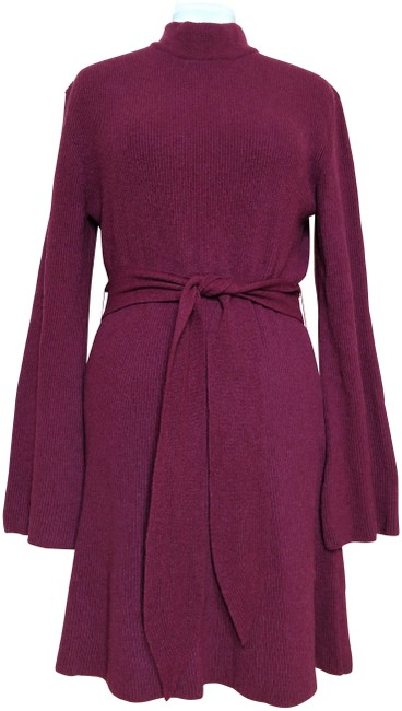 Item - Red Abhaya Tie-waist Belted Bell Sleeve Cashmere Blend Sweater Tunic Short Casual Dress Size 8 (M)