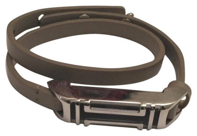 Item - Gray and Silver Double Wrap Leather Bracelet