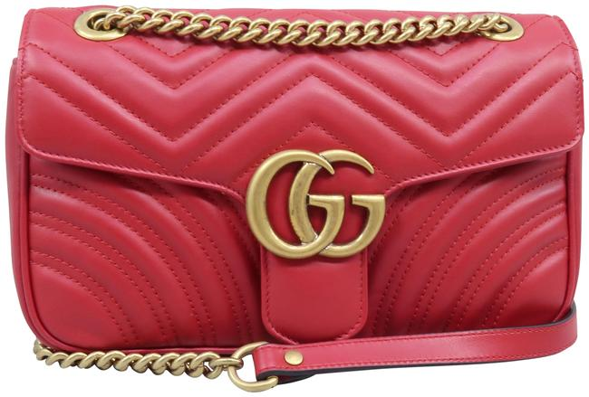 Gucci Marmont Small Gg Matelassé Red Calfskin Shoulder Bag Gucci Marmont Small Gg Matelassé Red Calfskin Shoulder Bag Image 1