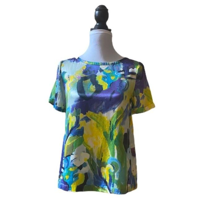 Item - Green Multi Colored Water Color Silk Blouse Size 4 (S)