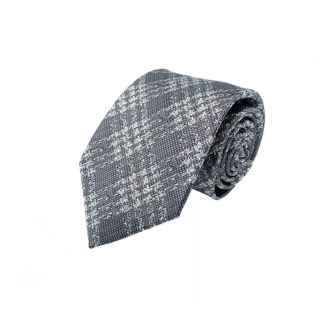 Item - Grey Textured Prince Of Wales Check Tie/Bowtie