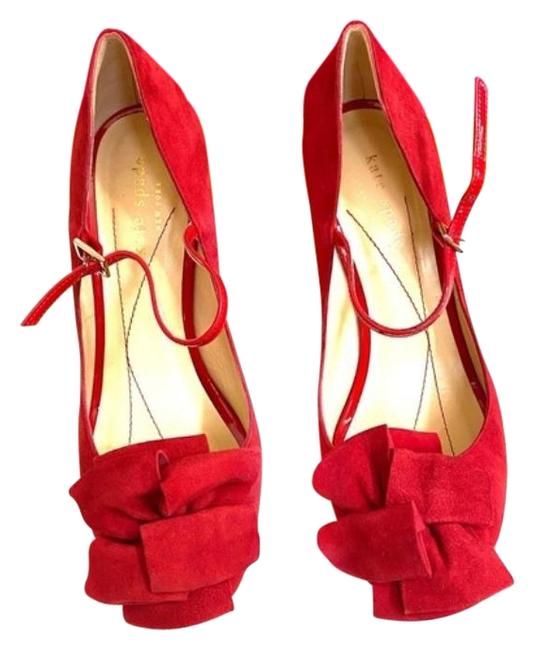 Item - Red Suede Peep Toe Heels Formal Shoes Size US 6 Narrow (Aa, N)