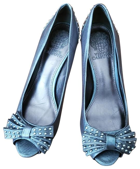 Item - Gray Leather Studded Bow Heels Pumps Size US 6.5 Regular (M, B)