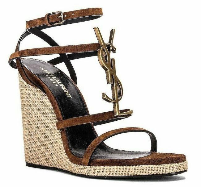 Item - Brown Cassandre Ysl 105 Suede Land Opium Ankle Strap Wedge Heel Sandals Size EU 39 (Approx. US 9) Regular (M, B)