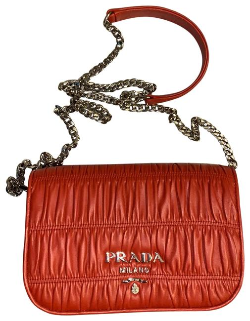 Item - Gauffre Red with Silver Hardware Leather Cross Body Bag