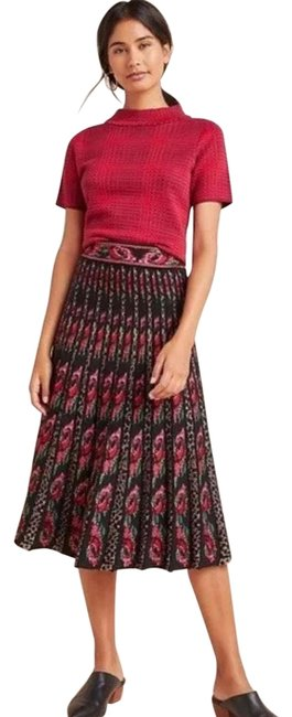 Anthropologie Black/ Red Floral Skirt Size 6 (S, 28) Anthropologie Black/ Red Floral Skirt Size 6 (S, 28) Image 1
