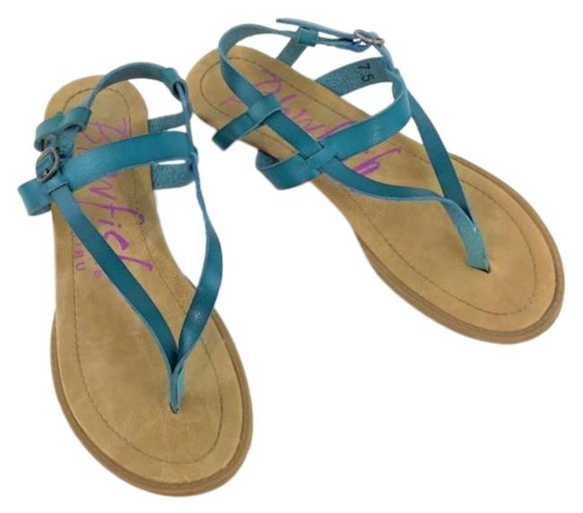 Item - Blue & Gold Turquoise Strappy Berg Sandals Size US 7.5 Regular (M, B)