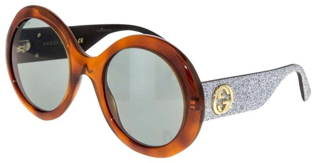 Gucci Brown Silver Glitter Round Havana Green Gg0101s Women Sunglasses Gucci Brown Silver Glitter Round Havana Green Gg0101s Women Sunglasses Image 1