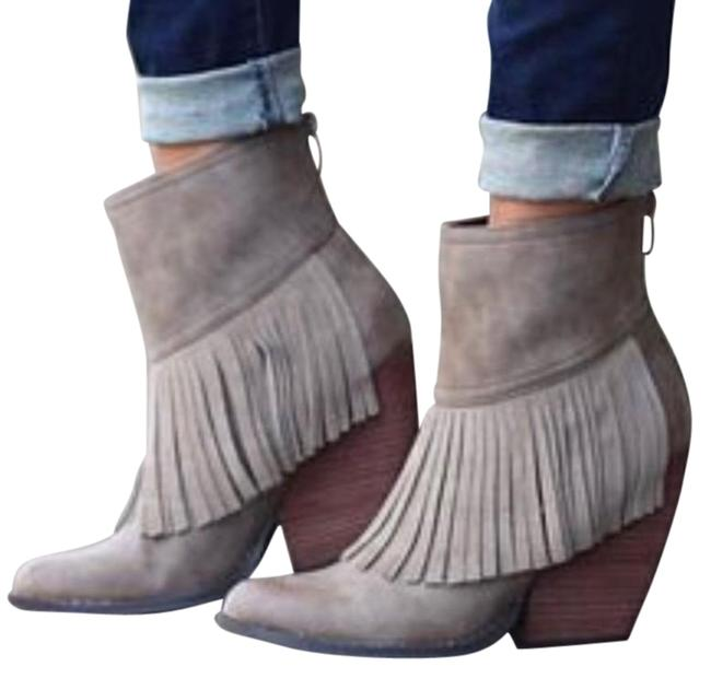 Item - Brown Wedge Fringe Ankle Boots/Booties Size US 7 Regular (M, B)