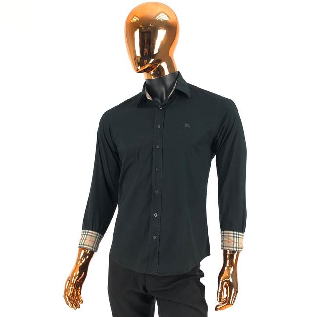Preload https://img-static.tradesy.com/item/27686542/burberry-london-black-w-mens-cotton-shirt-nova-check-and-logo-button-down-top-size-8-m-0-0-650-650.jpg