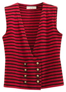 Adolfo Vintage Striped Vest Buttons Knit Top Red and Black
