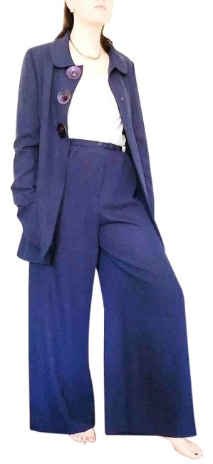 Preload https://img-static.tradesy.com/item/27686577/karl-lagerfeld-blue-1980s-vintage-nina-raynor-made-in-france-pant-suit-size-4-s-0-1-650-650.jpg