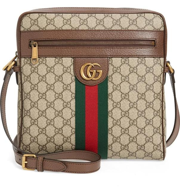 Gucci Web Purse Cross Body Beige Brown Gg Supreme Canvas Messenger Bag Gucci Web Purse Cross Body Beige Brown Gg Supreme Canvas Messenger Bag Image 1