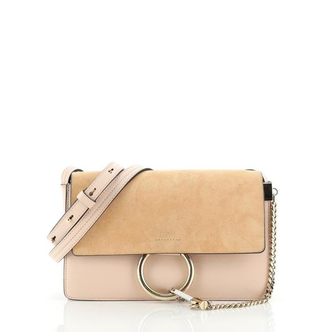 Chloé Faye And Small Neutral Pink Leather Suede Shoulder Bag Chloé Faye And Small Neutral Pink Leather Suede Shoulder Bag Image 1