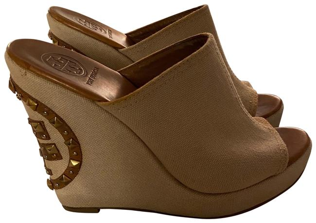 Item - Tan Wedge Mules/Slides Size US 9 Regular (M, B)