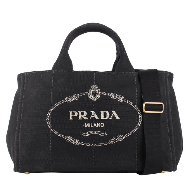 Prada Canapa Convertible 8538 Black / White Denim Cross Body Bag Prada Canapa Convertible 8538 Black / White Denim Cross Body Bag Image 1