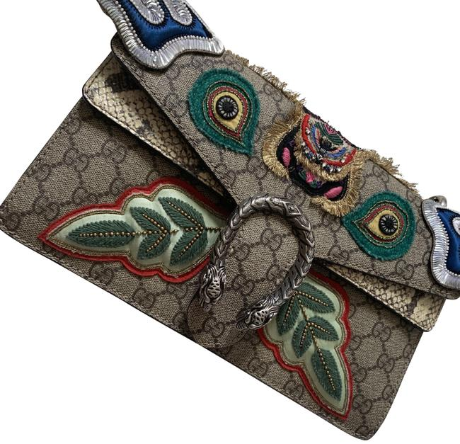 Gucci Dionysus Chain Supreme Monogram Embroided Beige and Multicolored Gg Canvas Python Shoulder Bag Gucci Dionysus Chain Supreme Monogram Embroided Beige and Multicolored Gg Canvas Python Shoulder Bag Image 1