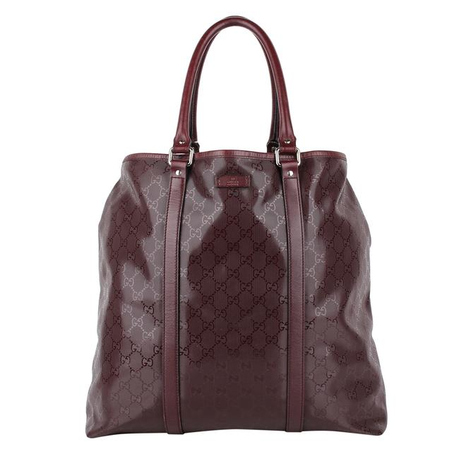 Gucci XL Bag Guccissima 8541 Maroon Leather Tote Gucci XL Bag Guccissima 8541 Maroon Leather Tote Image 1